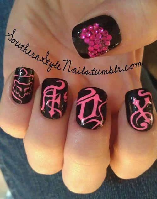 Fox Racing Nails!: Nails Art, Foxes Nails, Makeup, Country Nails Design, Foxes Racing Nails, Nails Ideas, Hair, Fox Racing Nails, Nails 3