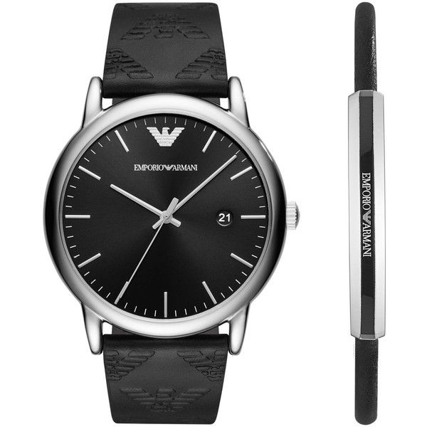 Emporio Armani Men's Black Leather Strap Watch 43mm Gift Set ($245) ❤ liked on Polyvore featuring men's fashion, men's jewelry, men's watches, black, mens watches jewelry and emporio armani mens watches
