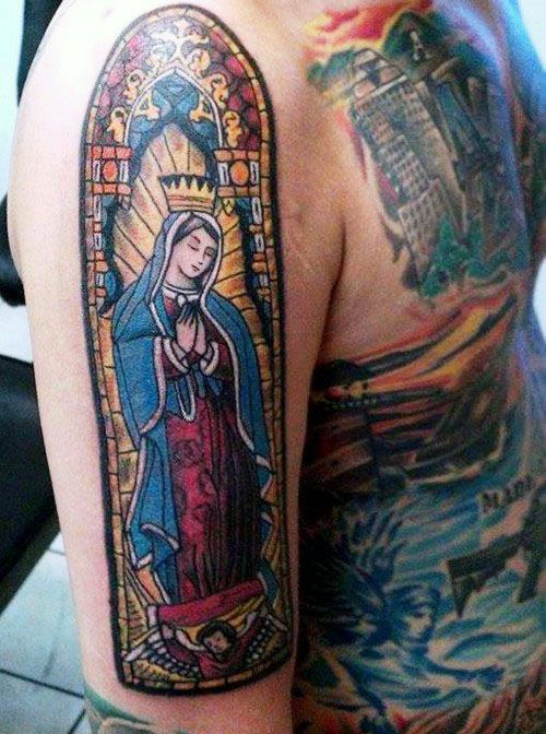 gentleman with stained glass religious arm tattoo rh pinterest com