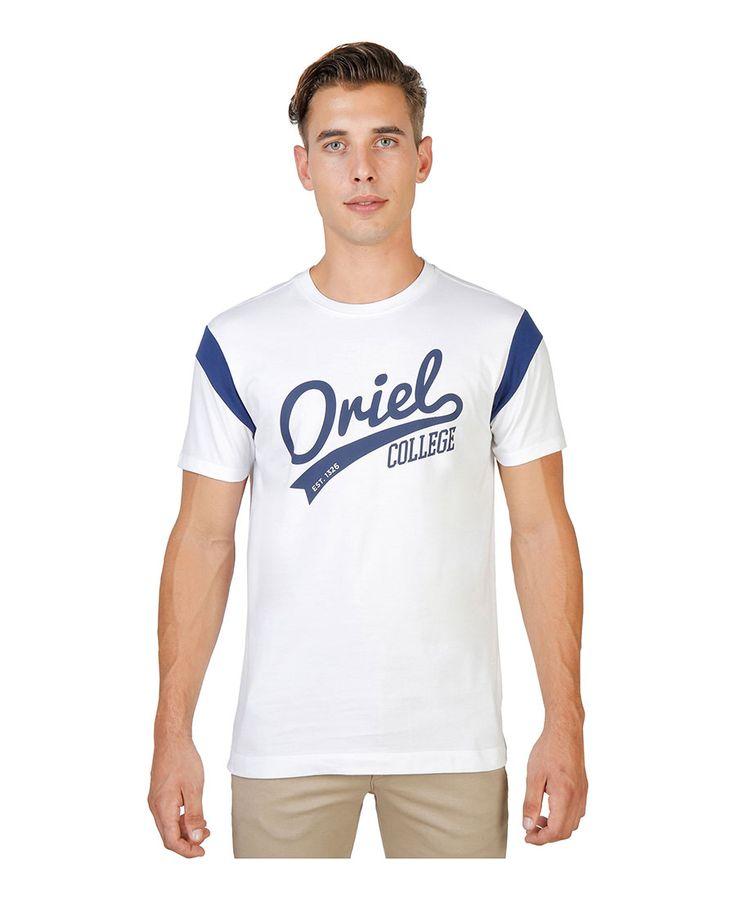 T - shirt girocollo a maniche corte con striscia di colore a contrasto - 100% cotone - tessuto tinto pezza a 60° c con c - T-shirt uomo  Bianco