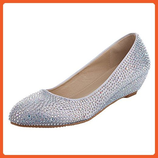 VELCANS Crystal Rhinestone Middle Heels Flats Dress Pumps for Wedding,Brides,Party and Prom Wedges Shoes (10.5 B(M) US, Silver) - Flats for women (*Amazon Partner-Link)