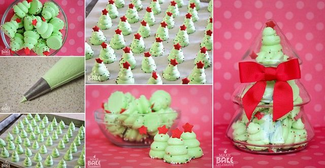 DIY Christmas Tree Meringues  For meringue you will need: 4 egg whites 1/4 teaspoon salt 1/4 teaspoon Cream of Tartar 1 1/3 cup sugar Green food coloring Sprinkles added right after coming out of oven