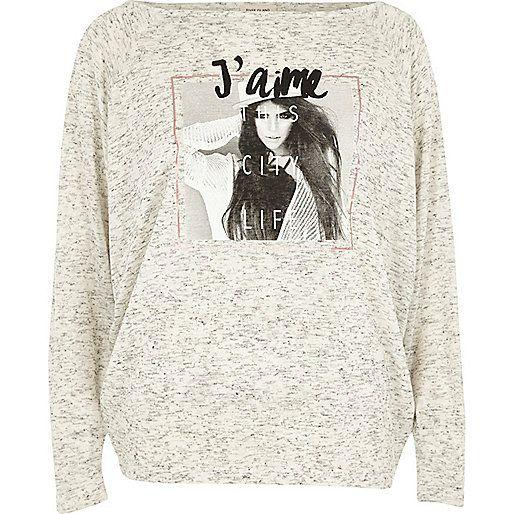 Grey 'J'aime' photo print batwing top