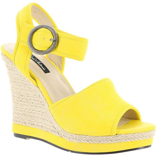 Michael Antonio Galleria Women's Yellow Sandal (€43) ❤ liked on Polyvore featuring shoes, sandals, yellow, ankle tie wedge espadrilles, summer sandals, yellow wedge sandals, wedge sandals and espadrille wedge sandals