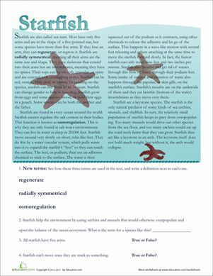Second Grade Comprehension Life Science Worksheets: Starfish Facts