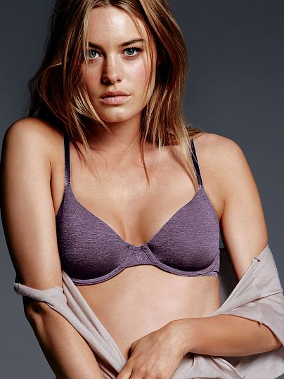 Worn by : Angel Camille Rowe  Type : The TShirt Unlined Demi Bra  Color : Rich Grape Marl