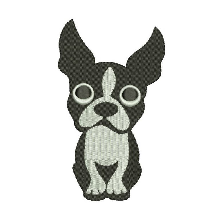 Boston Terrier embroidery machine design animal digital instant download pattern hoop file t-shirt fill stitch dog puppy designs by SvgEmbroideryDesign on Etsy