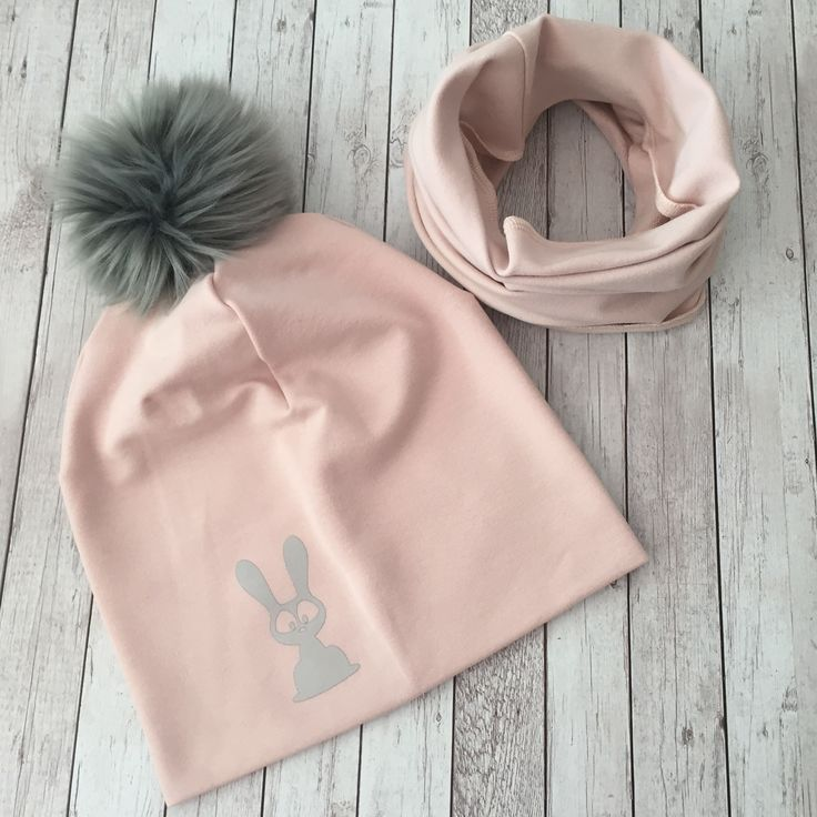 Beanie and scarf set with reflective bunny