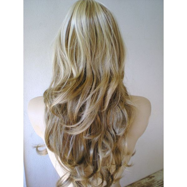 Summer Special Platinum blonde Brown Ombre wig. Blonde Long wavy hair... ($98) ❤ liked on Polyvore featuring beauty products, haircare, hair styling tools, hair, hairstyles, cabelo, hair styles and beauty