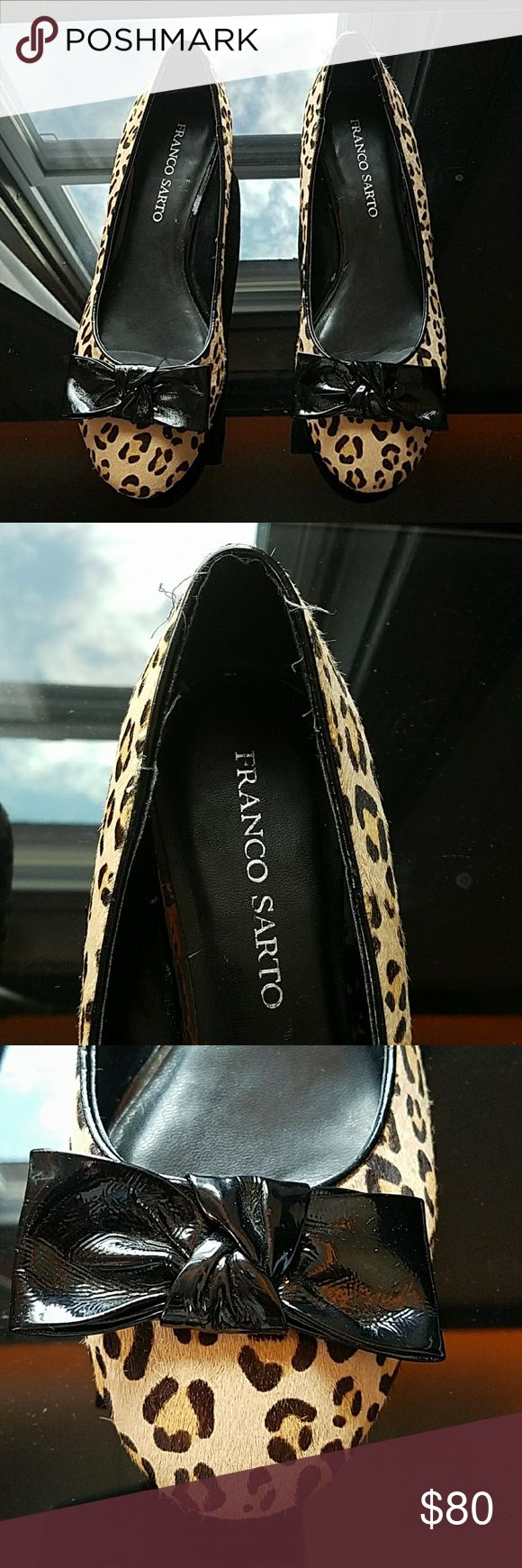 Franco Sarto cheetah heeled flats Franco Sarto cheetah heeled flats with like real animal fur not sure if real.  With the use size in inside was erased. I think they're a size 9-9.5. Narrow shoes. In great condition only flaw is a bit of strings out on left shoe refer to second picture.   Very chic shoes. Such a steal for the prize, pre loved! Franco Sarto Shoes Flats & Loafers
