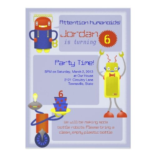 169 best robot birthday party invitations images on pinterest robot birthday invitations robot birthday party invitations filmwisefo Gallery