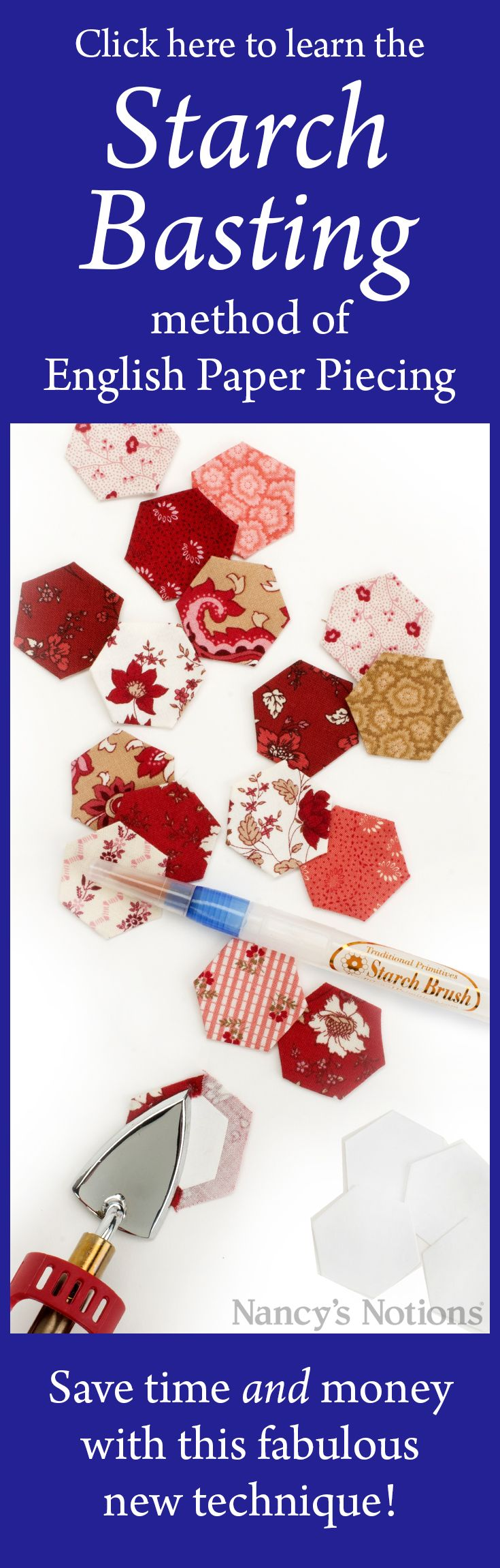 English paper piecing is a great scrap buster. Learn Missie Carpenter's fabulous starch basting technique method to save time and energy.
