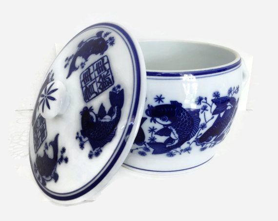 Chinese Soup Tureen Soup Tureen Blue and by TreasuresFoundShoppe