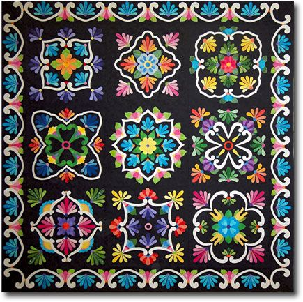 I HAVE THE PDF PATTERNA AND AM COLLECTING THE FABRICS. Fiesta De Talavera Block a Month With Black Background Join Now!