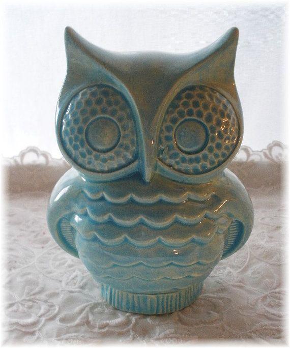 Owl Stuff For The Home Part - 46: Owl Bank Aqua Owl Home Decor Ceramic Bank Vintage In Aqua Nursery Decor Home  Decor