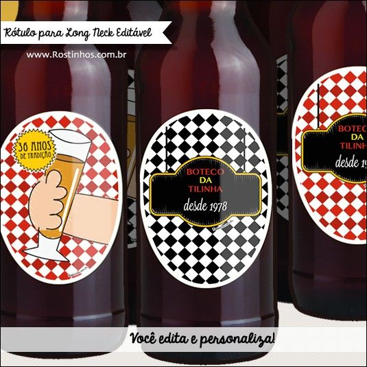 decoracao festa boteco personalizada:Festa Boteco que é festa boteco tem cerveja personalizada com o nome