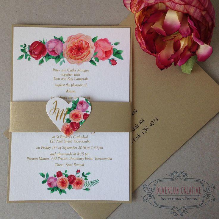 Floral wedding invitation with gold bellyband embellished