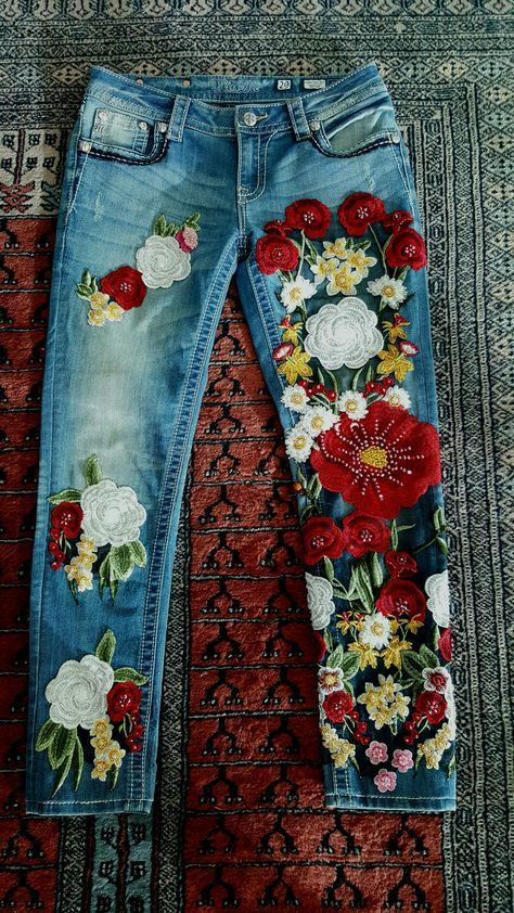Luxury Embroidered Jeans by MISS G | Things to wear | Pinterest | Denim, Jeans and Embroidered jeans