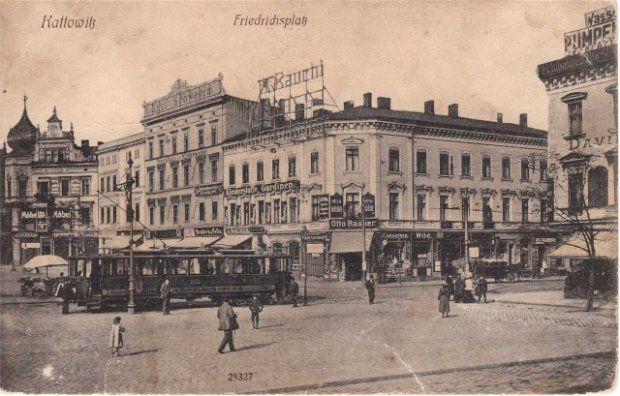 Katowice, plac Fryderyka czyli rynek, zdjęcie z lat 1918-1920