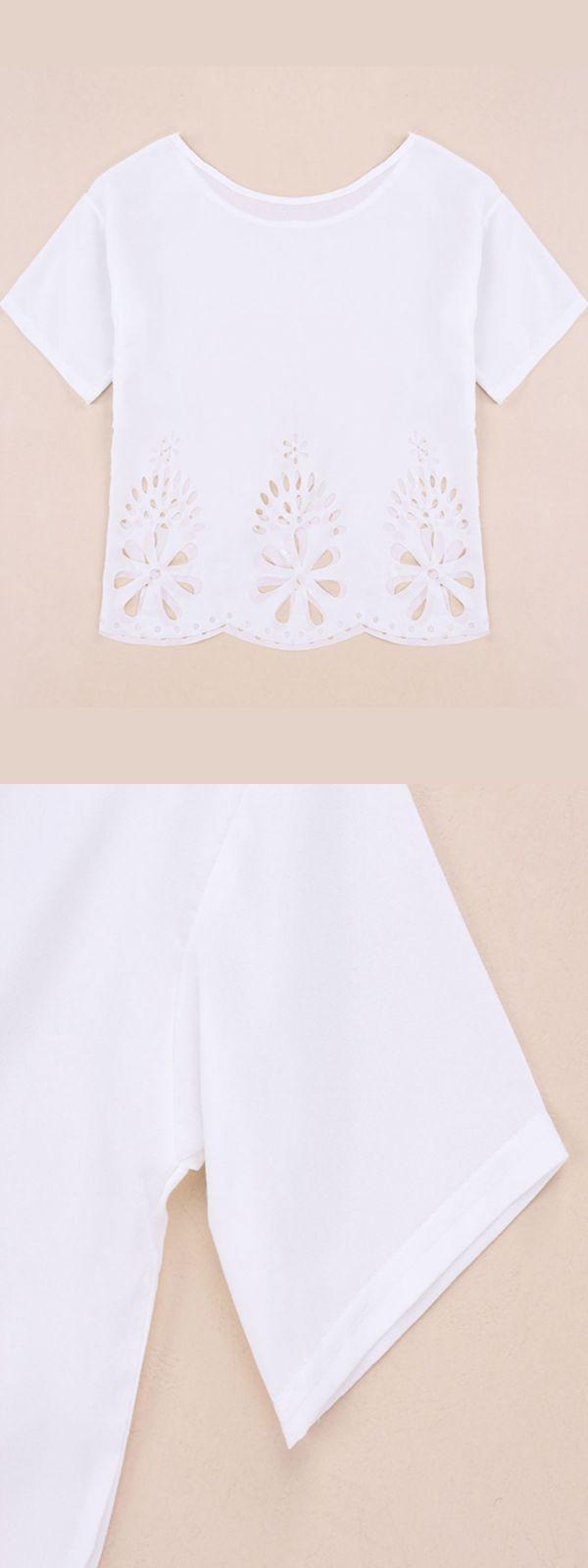 Women#8217;s retro t shirts women casual white short sleeve floral hollow hem loose chiffon t shirt blouse #givenchy #t #shirt #dog #woman #long #tail #t #shirts #womens #t-shirt #quotes #girl #vince #t #shirts #womens