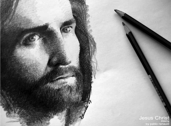 Pencil drawings of jesus face