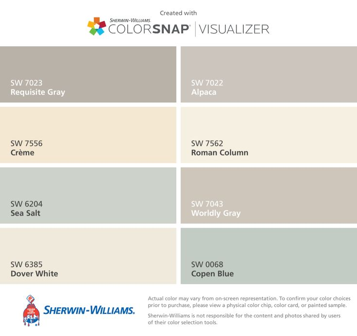 I found these colors with ColorSnap® Visualizer for iPhone by Sherwin-Williams: Requisite Gray (SW 7023), Crème (SW 7556), Sea Salt (SW 6204), Dover White (SW 6385), Alpaca (SW 7022), Roman Column (SW 7562), Worldly Gray (SW 7043), Copen Blue (SW 0068).