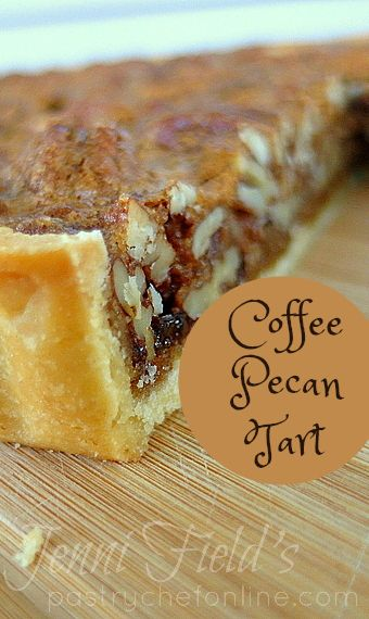 This coffee pecan tart recipe has all the flavor of a lovely pecan pie without all that gooey corn syrup. The coffee flavor works really well with the pecans and is the perfect Thanksgiving dessert recipe. | pastrychefonline.com