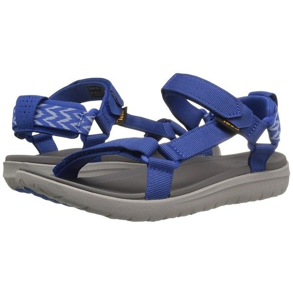 Teva Sanborn Universal (Nautical Blue) Women's Shoes ($80) ❤ liked on Polyvore featuring shoes, sandals, blue color shoes, teva, teva sandals, velcro sandals and nautical shoes