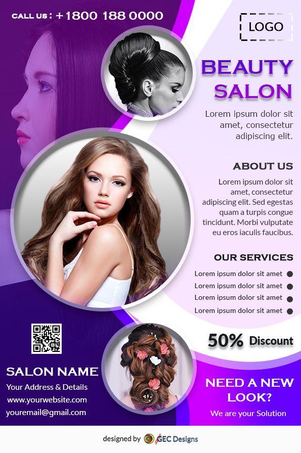 Free Beauty Salon Flyer Template Is A Good Looking Modern Free Flyer Design Best Suite For Beauty Par Free Beauty Products Beauty Salon Posters Beauty Salon