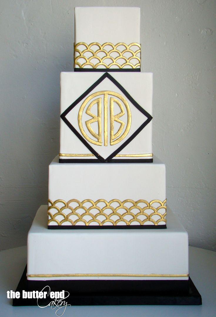 Art deco black white and gold wedding