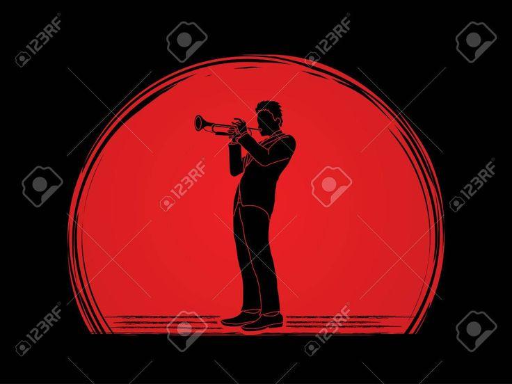 Trompettiste jouer de la trompette conçue sur le coucher du soleil vecteur de fond graphique. Banque d'images - 63338795