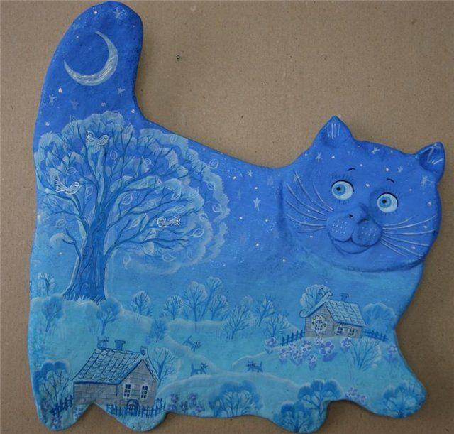 Веселые коты из папье-маше Светланы Саратовцевой