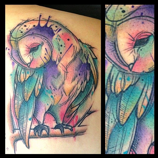 Water color owl tattoo by Pat Bennett