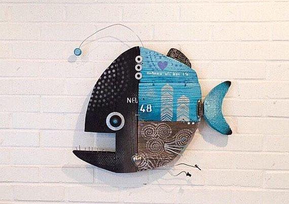 Blue Hula No 45 Fish Wall Art Reclaimed Wood Blue Silver Large Driftwood Recycled Art Fish Wall Art Fish Artwork