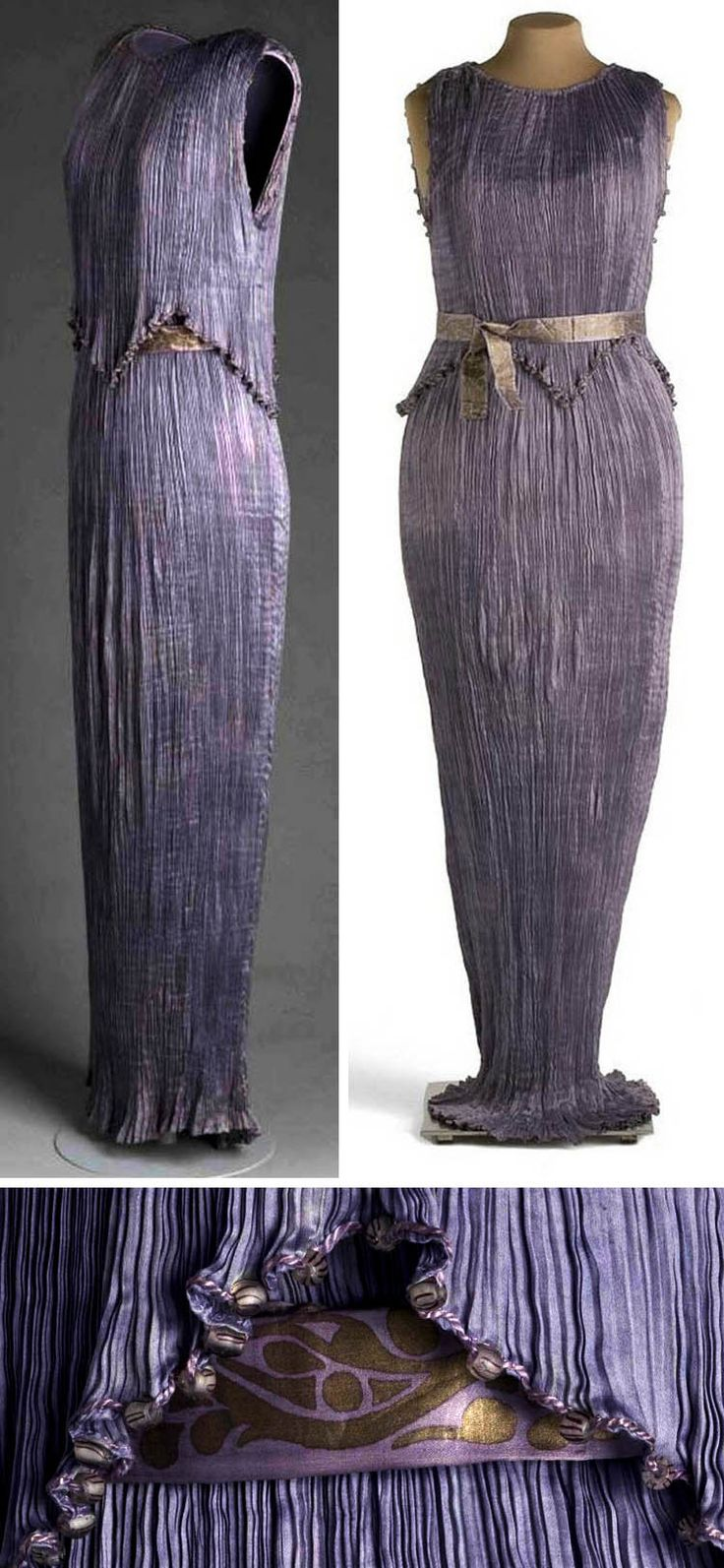 Delphos dress, Mariano Fortuny, 1909. Purple silk satin. Museo del Traje