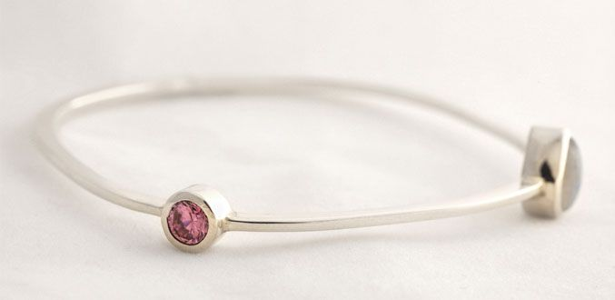 Passion 7B Bracelet – Handmade silver bracelets Material :  Silver 925, Pink Zircon, Moonstone Dimension : Width: 6.5 cm Weight : 12.01 gram Price : $ 49.00 In Stock : 2 pcs left Order it here http://www.jennyjsilver.com/collection-24-Passion-7B