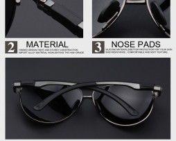 Polarizované štýlové slnečné okuliare - pilotky s čiernym sklom