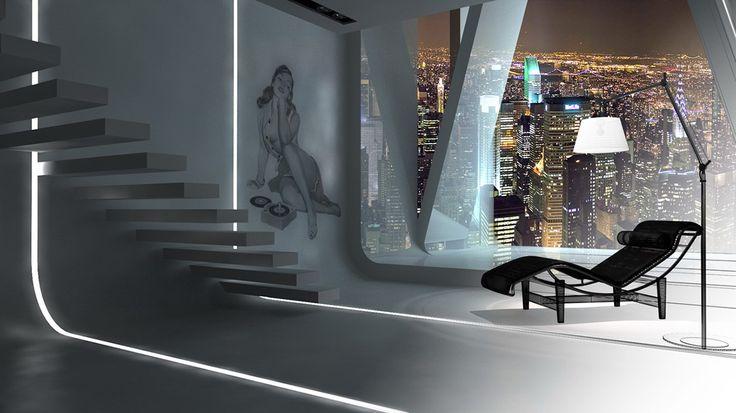 Criar diferentes ambientes de um hotel altamente sofisticado para ilustrar ambientes musicais distintos de uma radio online.   -  Loft