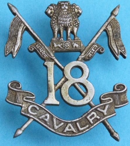INDIA-18-th-CAVALRY-Indian-Army-vintage-HELMET-BADGE-USED
