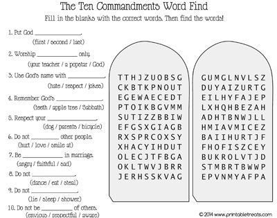 Ten Commandments Word Search - Printable Treats | Crafts for Kids ...