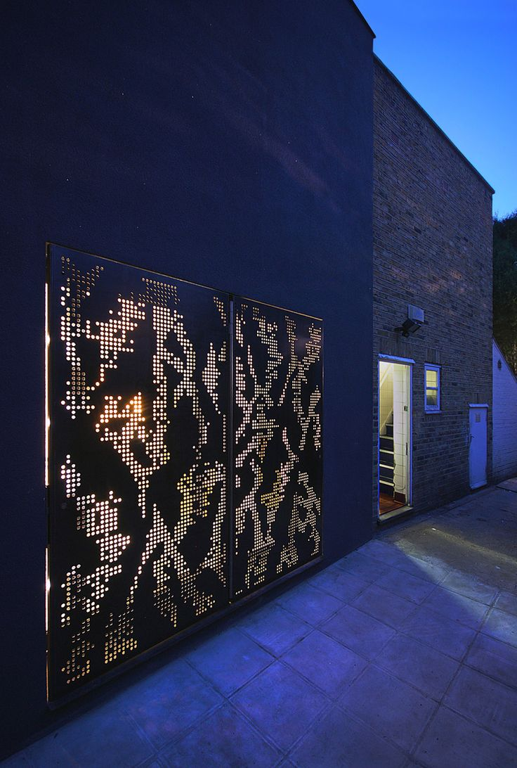 doors are made from steel which has been perforated with a laser-cut pattern  image © lyndon douglas