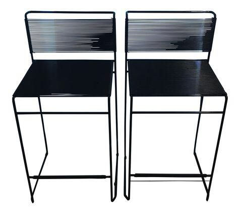 Giandomenico Belotti Black Fly Line Spaghetti Bar Stools- A Pair on Chairish.com