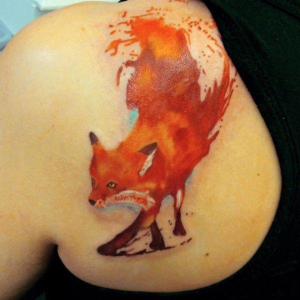 Watercolor fox tattoo - fox back tattoo on TattooChief.com