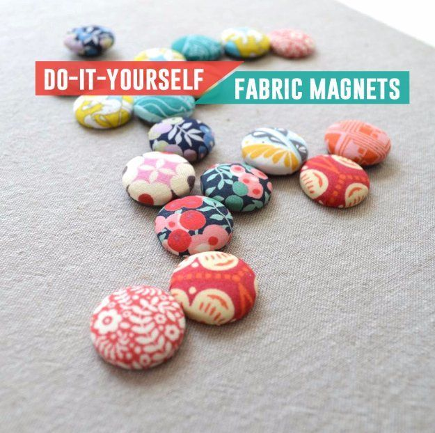 Cool Crafts  You Can Make With Fabric Scraps - DIY Fabric Scrap Magnet  - Creative DIY Sewing Projects and Things to Do With Leftover Fabric and Even Old Clothes That Are Too Small - Ideas, Tutorials and Patterns http://diyjoy.com/diy-crafts-leftover-fabric-scraps