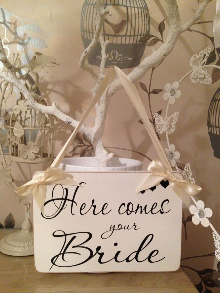 Personalised Here Comes Your Bride Sign Vintage by PrettyJewelsUK, £15.00