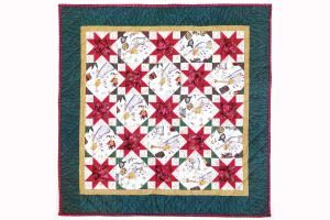 A Joyous Celebration is a start quilt pattern made with two different quilt blocks. Blocks appear to be on point but are actually in an easy straight setting.