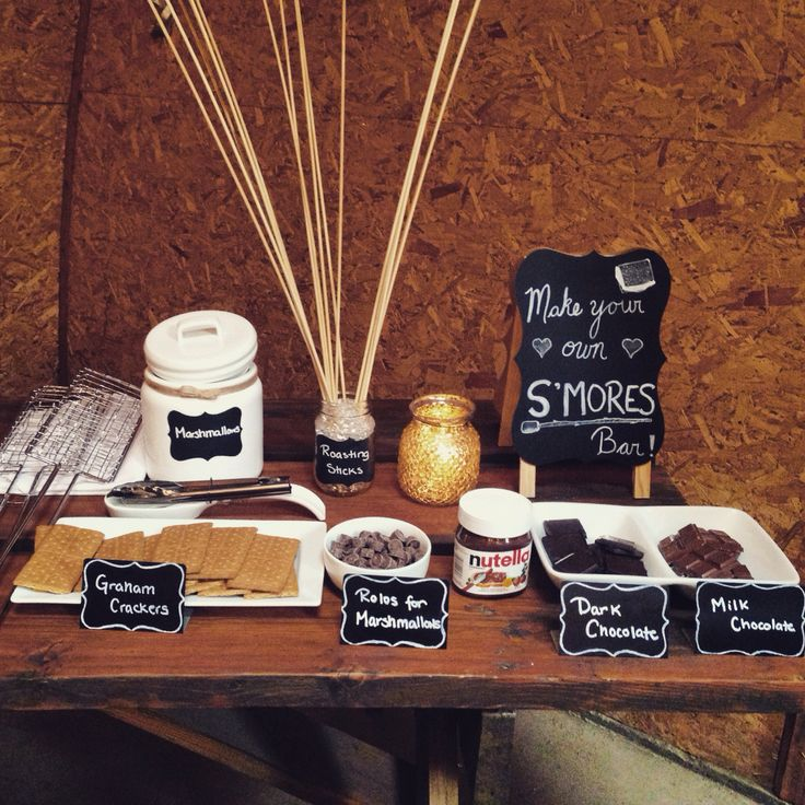 S'mores bar at O&S's barn wedding in #banff! There's always room for s'mores!