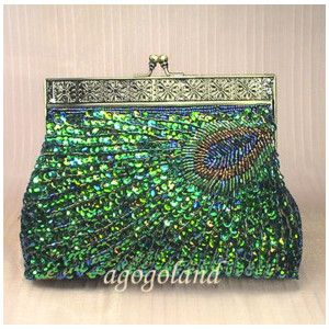 Peacocks and sparkle! What a great clutch for the holiday season!