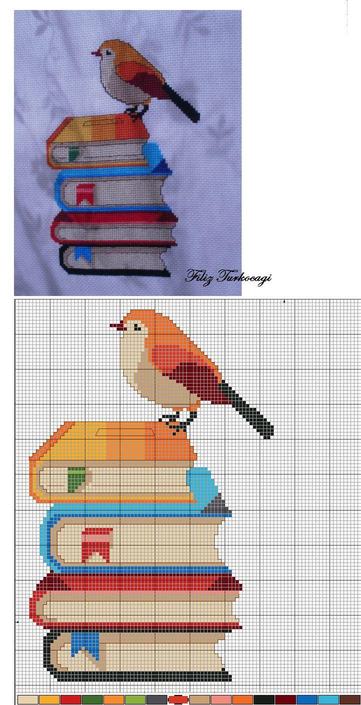 Kuş Seri Desen :3 ( Bird Series :3 ) Designed and stitched by Filiz Türkocağı