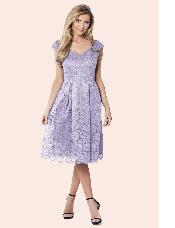 Sistaglam Jadey Lilac Lace Bardot Dress  £75.00  Show off your style in this gorgeous detailed lilac lace prom dress with bardot neckline. Perfect for an elegant dining event styled with a pair of black heels.